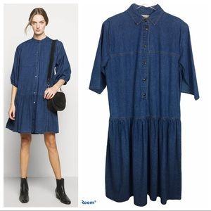 VTG Denim Jean Dress Oversized Drop Waist Cotton